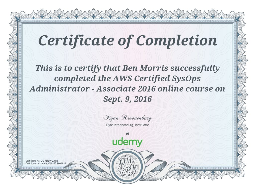 Certificate Aws Certified Sysops Administrator Innovation